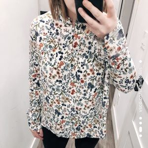 H&M White & Floral Long Sleeve Blouse